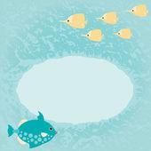 Tarjeta azul marina con pescado — Vector de stock