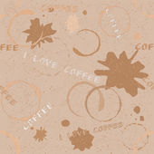 Grunge coffee seamless pattern with text — Stock Vector