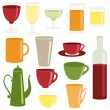 Cups and glasses collection — Stock Vector