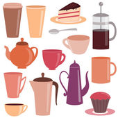Collection of tea and coffee items — Stock Vector