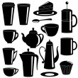 Collection of teand coffee items silhouettes — Stock Vector #27875907