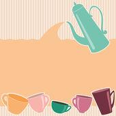 çaydanlık ve bardak çizgili tebrik kartı — Stok Vektör
