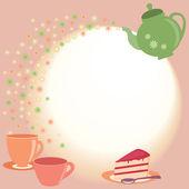 Tee-karte mit teekanne, pokale und blumen — Stockvektor