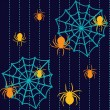 Stock Vector: Halloween seamless pattern with spiders