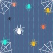 ストックベクタ: Stripy background with spiders and web