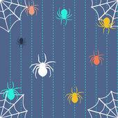 Gestreiften hintergrund mit spinnen und web — Stockvektor