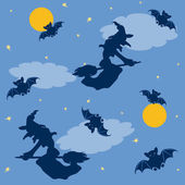 巫婆和蝙蝠万圣节背景 — 图库矢量图片