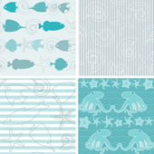 Sea life patterns collection 4 — Stock Vector