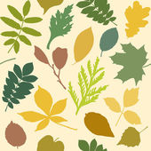 Seamless pattern with leaves silhouettes — Stock Vector