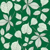 Seamless pattern with hand-drawn leaves — Stock Vector
