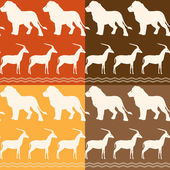 Set of seamless patterns with lion and gazelle — 图库矢量图片