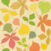 Colorful seamless pattern with hand-drawn leaves — Stock Vector
