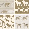 Collection of african animals patterns — Stock Vector