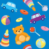 Blue seamless pattern with toys — Stock Vector