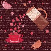 Tarjeta con café y corazones — Vector de stock