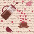 Seamless pattern with coffee and hearts — Stock Vector