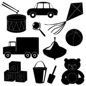 Set of toys silhouettes 1 — Stock Vector
