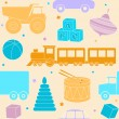 Bright seamless pattern with toys — 图库矢量图片