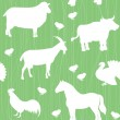 Seamless pattern with farm animals silhouettes — Stock Vector