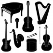 Set of musical instruments silhouettes — Stock Vector #37312009