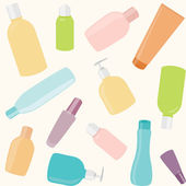 Seamless pattern with cosmetics bottles — Stock Vector