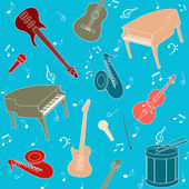 Seamless pattern with musical instruments — Stock Vector