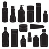 Set of cosmetic bottles silhouettes — Stock Vector