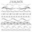 Summer hand drawn border set — Stock Vector