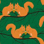 Modello senza saldatura con coppie di scoiattoli — Vector de stock