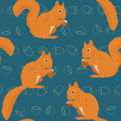Seamless pattern with squirrels — Stock Vector