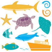 Sea animals collection — Vettoriale Stock