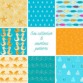 Marine patterns collection 1 — Stock Vector