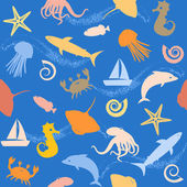 Seamless pattern with sealife silhouettes — Stock Vector