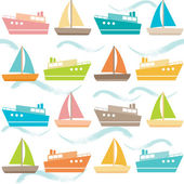 Seamless pattern with ships and waves — Stock Vector