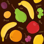 Cartoon fruit seamless pattern — Stock Vector