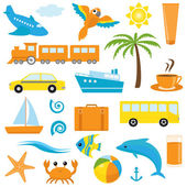 Bright cartoon travel icons — Vecteur
