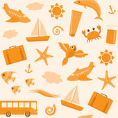 Seamless pattern with travel icons — Stock Vector