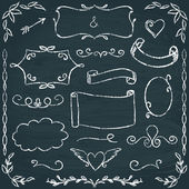 Hand-drawn chalkboard frames and elements set — Stock Vector