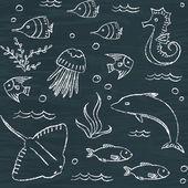 Sealife chalkboard seamless pattern — Stock Vector