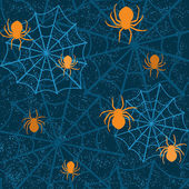 Halloween seamless pattern with spiders — Stock Vector