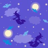 Witches and bats Halloween background — Stock Vector