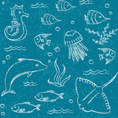 Sealife hand drawn seamless pattern — Stock Vector