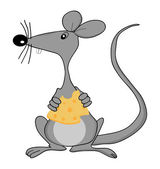 Cute mouse holding cheese — Stock Vector