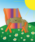 Cat on a chair in the meadow — Stock Vector