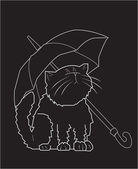 Sad cat with an umbrella — Stok Vektör