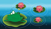 Illustration of a frog above the water lilly — Stock Vector