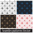 Seamless vector floral pattern set — Stock Vector