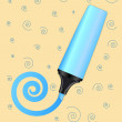 Blue vector marker with drawn spiral — Stock Vector
