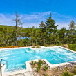 Spa of sacacomie hotel lake in quebec canada - Stock Photo