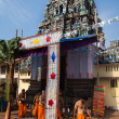 Gopuram of Vishnu Temple of Cochin in Kerala state india - Stock Photo
